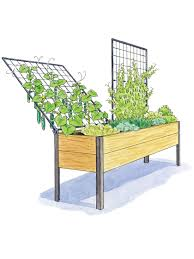 elevated cedar planter box space maker pivoting trellis 2x8