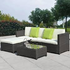 5pc outdoor patio sofa set sectional furniture pe wicker rattan deck