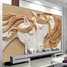 Fototapete Wohnzimmer Modern Hochwertige Fototapete 3d Stereo Geprägt Pferd Wohnzimmer Tv