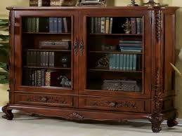 Wooden Bookcase With Glass Doors Furniture Built In Oak Book Integreted With Oak Wooden Roof