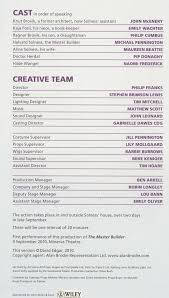 Casting Assistant Cast List The Master Builder 2010 U2013 Pass It On