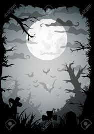 halloween black and white spooky a4 frame border with moon death