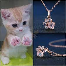 rose gold animal necklace images Real 925 sterling silver cat rose gold paw necklace blissfactory jpg