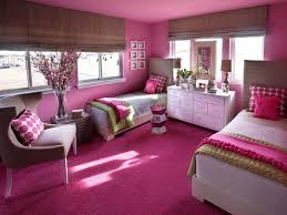 pink wall with white curtain and glass windows also purple carpet