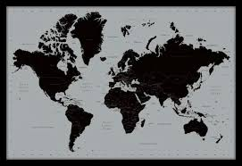 Large Framed World Map by Affordable Art India World Map Contemporary Large Framed Fine