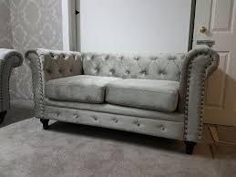 Borne Settee Brand New England Chesterfield Velvet Fabric 3 2 Seater Sofas