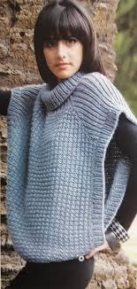ponchos a palillo patrón para tejer un poncho cerrado de cuello alto iknitts com