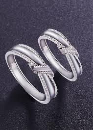 platinum sterling rings images 925 sterling silver couple rings knot with aaa zircons platinum jpg