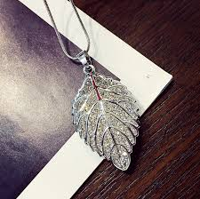 long leaf necklace images Fashion long section leaf sweater chain necklace from swarovski jpg