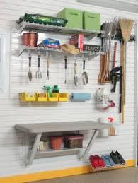 Organizing Garden Tools In Garage - some pegboard and a basket make great use of the inside of door