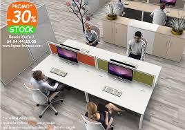 bureau com mobilier de bureau pour open space pour 4 personnes et écrans