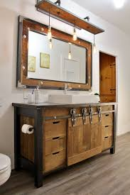 rustic bath vanity foter in industrial bathroom style lighting