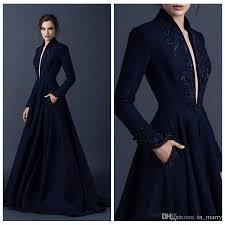 Navy Blue Lace Dress Plus Size Paolo Sebastian Navy Blue Evening Dresses With Pocket 2015 Long