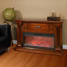 lifesmart infrared heater fireplace with 48 u201d burnished oak mantle