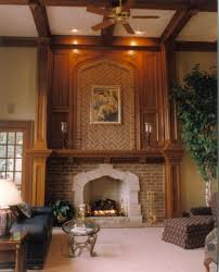 two story living room living room traditional with wood fireplace