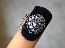 black fluffy velvet powder dust rhinestones beads quad nail art