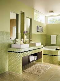 excellent bathroom with beautiful soft green wall color and glass