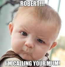 Robert Memes - robert i m calling your mum meme skeptical baby 27173 page