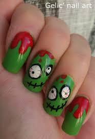 gelic u0027 nail art cute n u0027 crazy green bloody zombie nail art