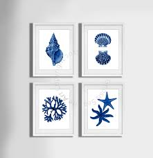 Bathroom Wall Decorations Navy Blue Wall Art Set Of 4 Beach Decor Seashells Seaweed And