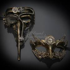 steunk masquerade mask his hers steunk mask set gold masquerade mask for