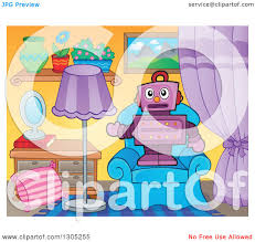 clipart of a cartoon purple robot standing and presenting on a