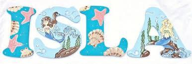 Mermaid Nursery Decor Aqua Mermaid Nursery Letters Seashell Mermaid Painted Letters