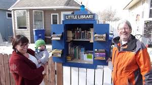 tiny library in dr who box restored for neighbors by random