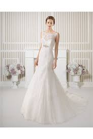 trumpet illusion boat neck open back lace wedding dress with