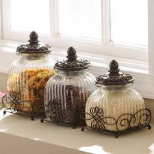 glass canisters with metal stands pretty glass kitchen canisters