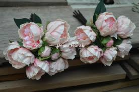 Bridesmaids Bouquets 2 Bundles Blush Pink Peonies For Silk Bridal Bouquets Real Touch