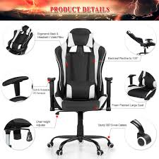 Desk Height Adjusters by White Ikayaa Ergonomic Racing Gaming Office Computer Desk Chair