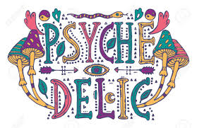 detailed ornamental psychedelic lettering and magic mushrooms