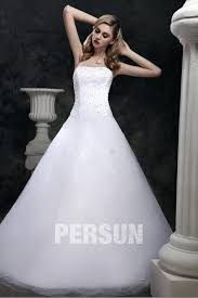 robe de mari e de princesse de luxe robe de mariée princesse sans bretelle à traîne court ornée de