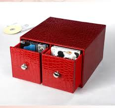 Desk Storage Containers Buy Horizontal Home Office 2 Drawer Leather Desk Cd Dvd Sundries