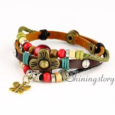 leather bracelet with charm images Owl flower charms for jewelry making wholesale leather cuff jpg