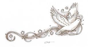 dove with ribbon tattoo sketch