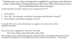 dbq sample essay dbq explain the ways that participation in political campaigns 2 explain