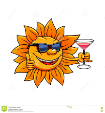 cartoon cocktail cartoon sun in sunglasses drinking cocktail stock vector image