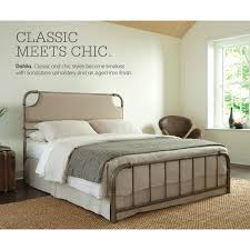 california king metal and fabric snap bed with aged iron finish by