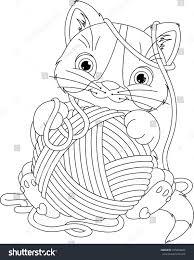kitten yarn ball coloring page stock vector 415854826 shutterstock