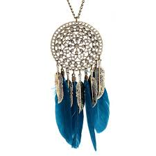 ethnic necklace aliexpress images Hot retro alloy blue black necklace dream catcher feather pendant jpg