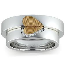 gold wedding rings sets matching fingerprint inlay wedding ring set in platinum and