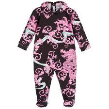 young versace girls pink u0027baroque dragon u0027 print babygrow