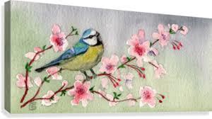 blue bird on cherry blossom tree of canvas