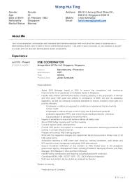 Resumes For Manufacturing Jobs by Resume Wong Hui Ting