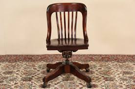 Antique Wooden Office Chair Sold Marble U0026 Shattuck Signed Swivel Adjustable Antique 1915