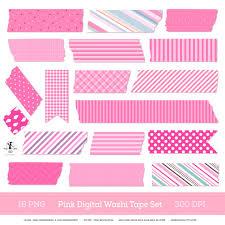 washi tape digital washi tape set pink washi strips scrapbook clipart