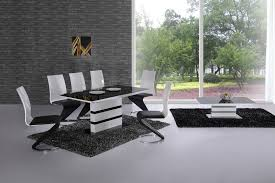 Extending Black Glass White High Gloss Dining Table And  Chairs - Black dining table for 8