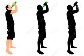 beer vector casual young man drinking bottle of beer vector royalty free